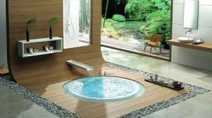 Baignoire ronde encastrée au sol