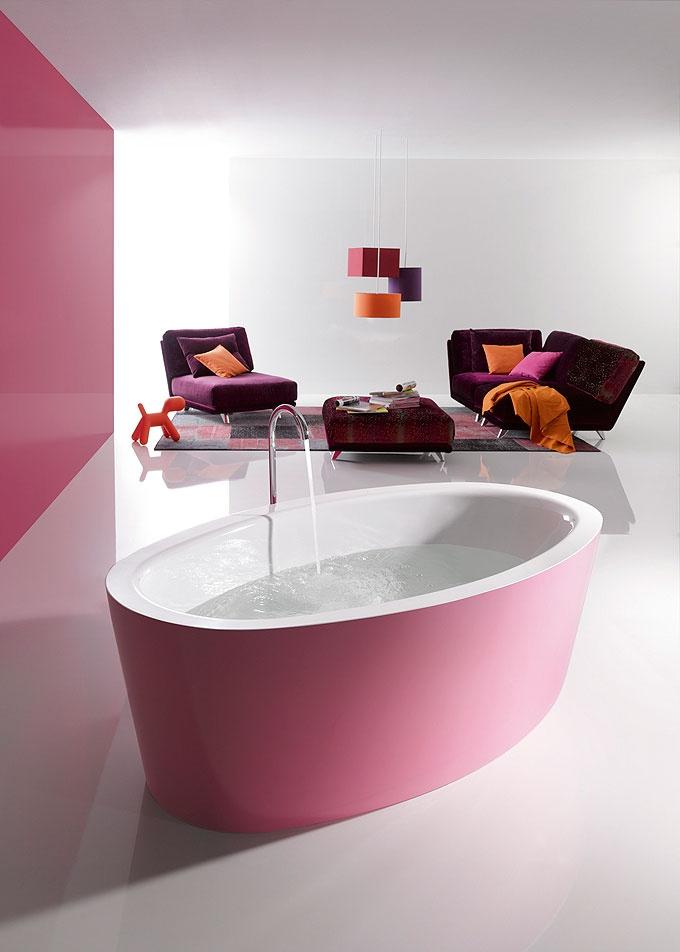 Baignoire ilot rose